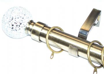 28mm Antique Brass Curtain Pole with Mosaic Ball Finials C Rings 3.6m 4.5m 4.8m 6m